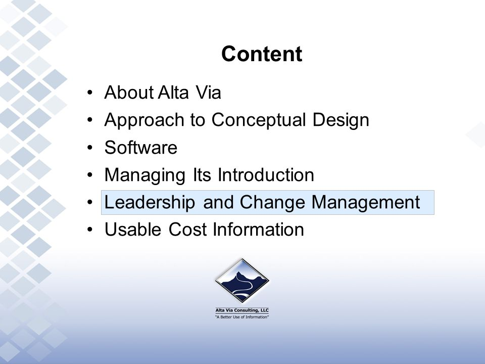 Content About Alta Via Approach to Conceptual Design Software Managing Its Introduction Leadership and Change Management Usable Cost Information