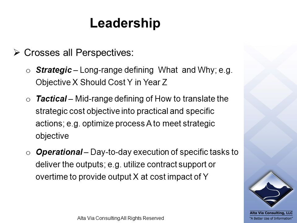 Alta Via Consulting All Rights Reserved Leadership  Crosses all Perspectives: o Strategic – Long-range defining What and Why; e.g.