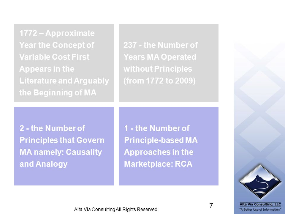 Alta Via Consulting All Rights Reserved 7 237 - the Number of Years MA Operated without Principles (from 1772 to 2009) 2 - the Number of Principles that Govern MA namely: Causality and Analogy 1 - the Number of Principle-based MA Approaches in the Marketplace: RCA 1772 – Approximate Year the Concept of Variable Cost First Appears in the Literature and Arguably the Beginning of MA