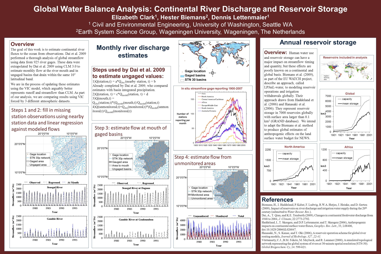 Locations Global Water Balance Analysis: Continental River Discharge and Reservoir Storage Elizabeth Clark 1, Hester Biemans 2, Dennis Lettenmaier 1 1