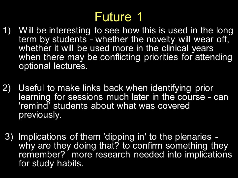 Future 1 1)Will be interesting to see how this is used in the long term by students - whether the novelty will wear off, whether it will be used more in the clinical years when there may be conflicting priorities for attending optional lectures.