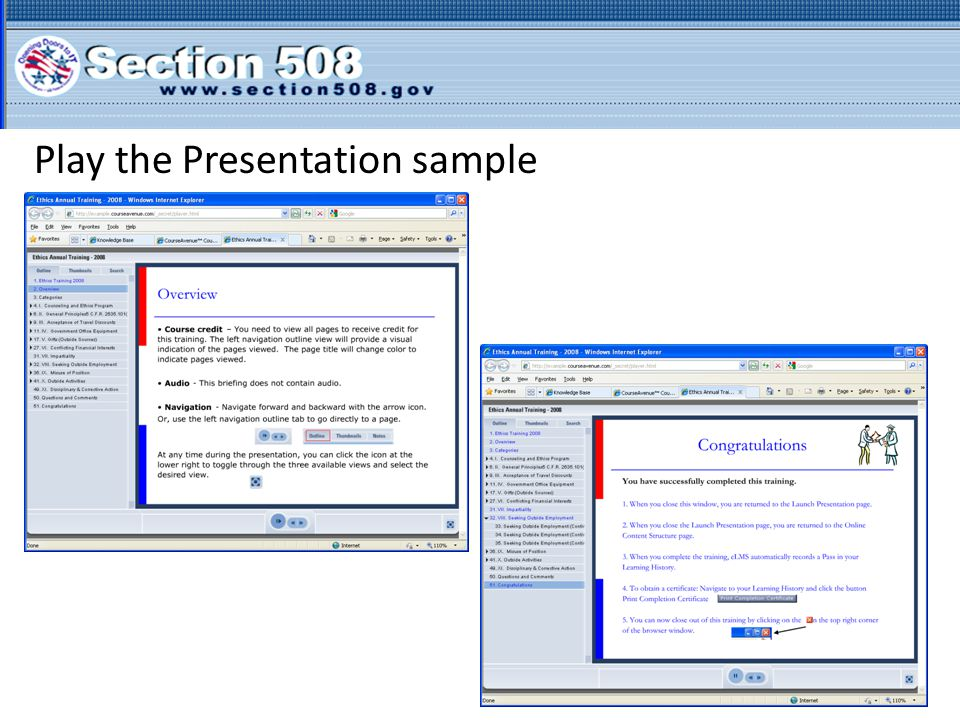 Play the Presentation sample