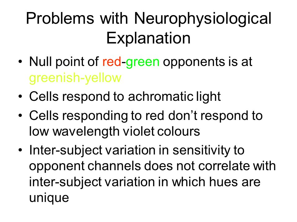 Problems with Neurophysiological Explanation Null point of red-green opponents is at greenish-yellow Cells respond to achromatic light Cells responding to red don't respond to low wavelength violet colours Inter-subject variation in sensitivity to opponent channels does not correlate with inter-subject variation in which hues are unique