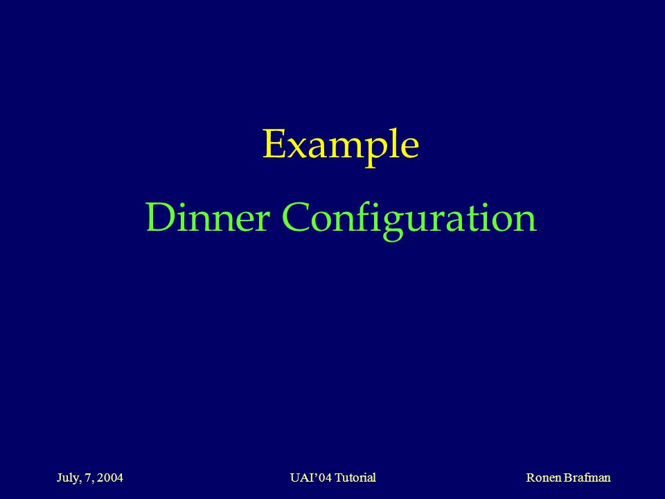 July, 7, 2004 UAI'04 Tutorial Ronen Brafman Example Dinner Configuration