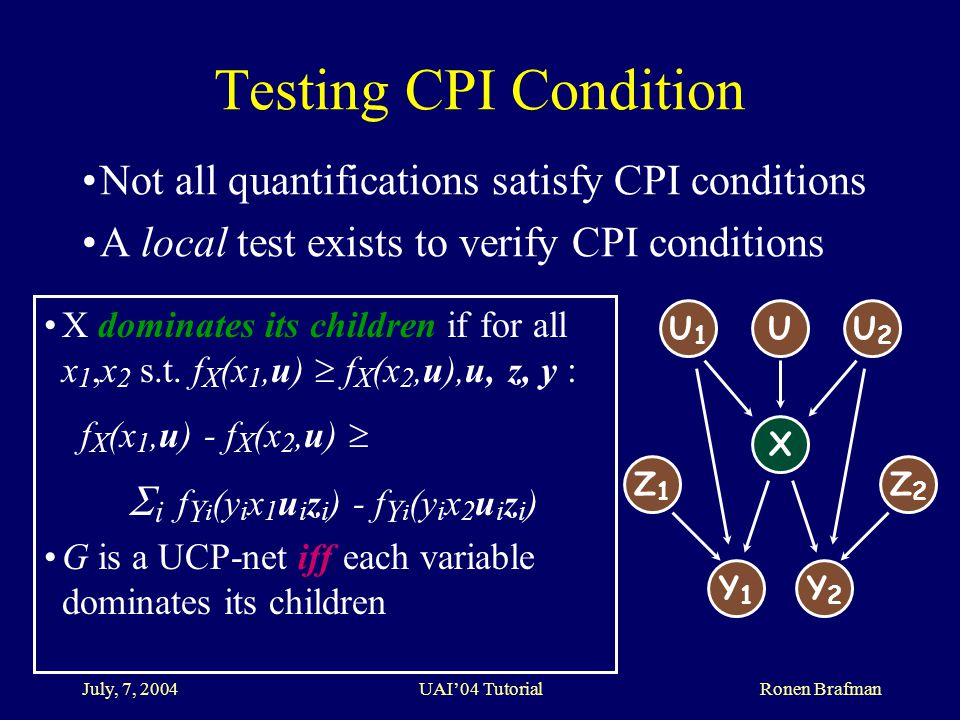 July, 7, 2004 UAI'04 Tutorial Ronen Brafman Testing CPI Condition Not all quantifications satisfy CPI conditions A local test exists to verify CPI conditions X dominates its children if for all x 1,x 2 s.t.