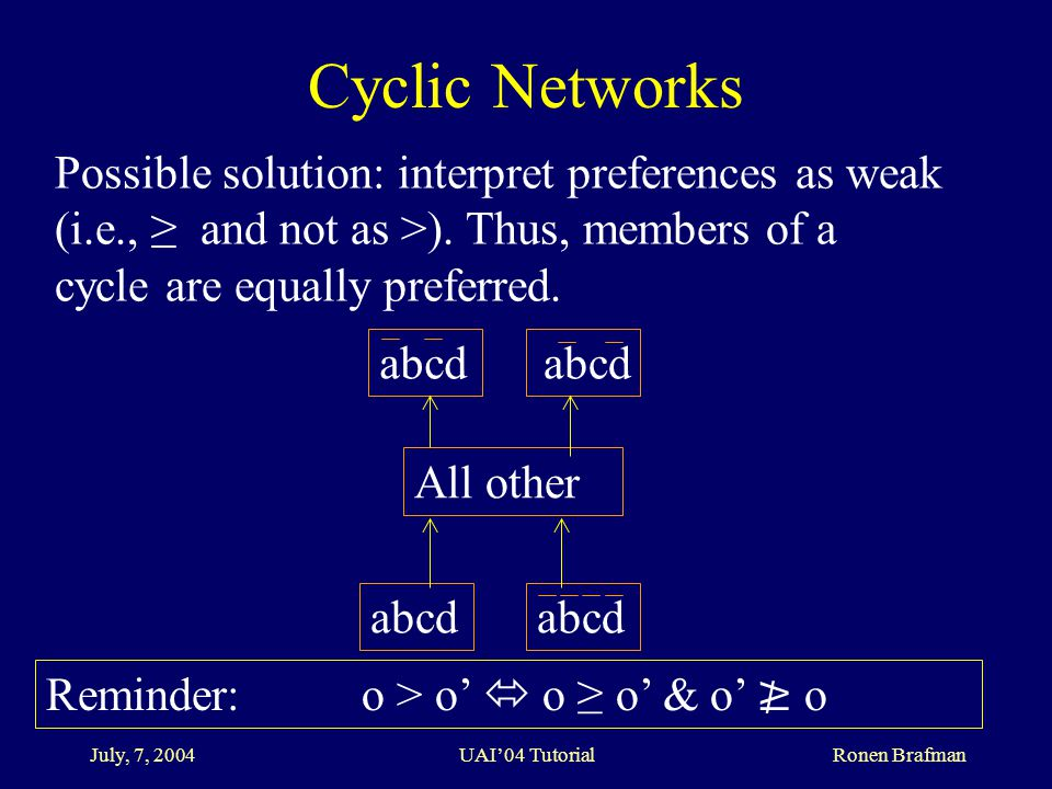 July, 7, 2004 UAI'04 Tutorial Ronen Brafman Cyclic Networks Possible solution: interpret preferences as weak (i.e., ≥ and not as >).