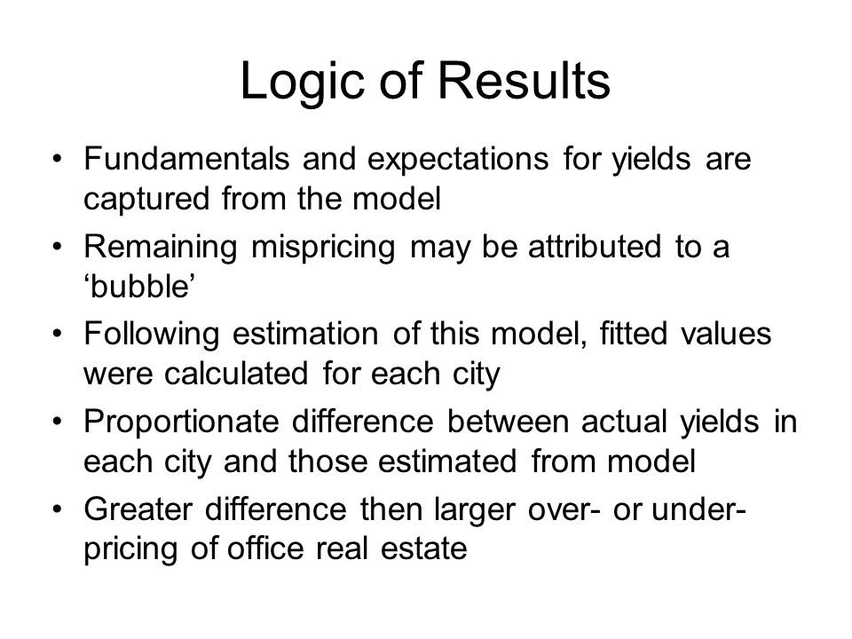 Logic of Results Fundamentals and expectations for yields are captured from the model Remaining mispricing may be attributed to a 'bubble' Following estimation of this model, fitted values were calculated for each city Proportionate difference between actual yields in each city and those estimated from model Greater difference then larger over- or under- pricing of office real estate