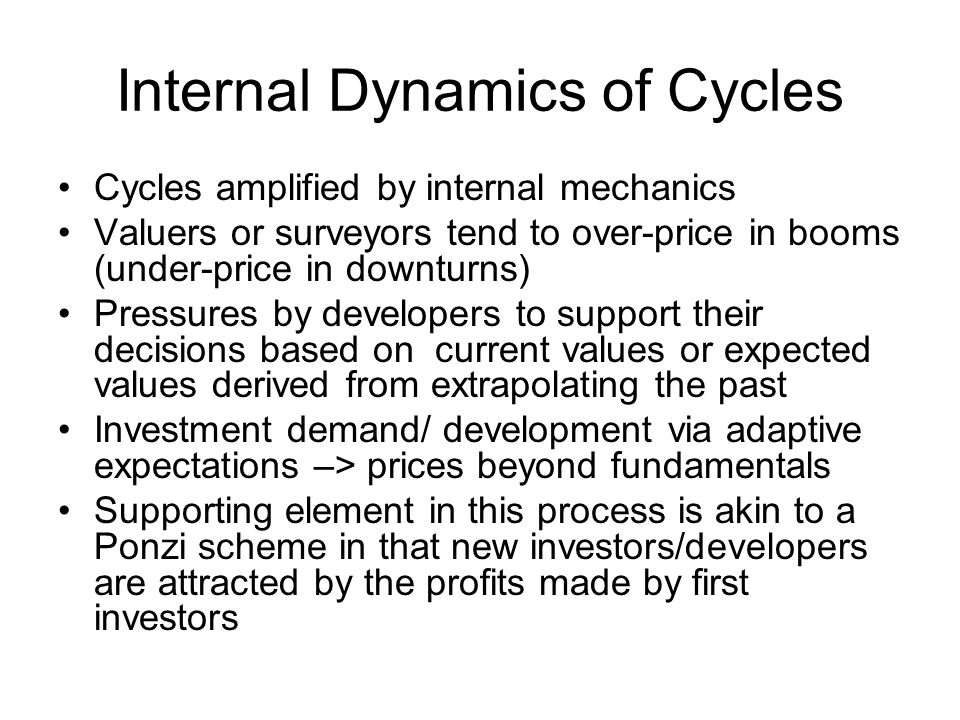 Internal Dynamics of Cycles Cycles amplified by internal mechanics Valuers or surveyors tend to over-price in booms (under-price in downturns) Pressures by developers to support their decisions based on current values or expected values derived from extrapolating the past Investment demand/ development via adaptive expectations –> prices beyond fundamentals Supporting element in this process is akin to a Ponzi scheme in that new investors/developers are attracted by the profits made by first investors
