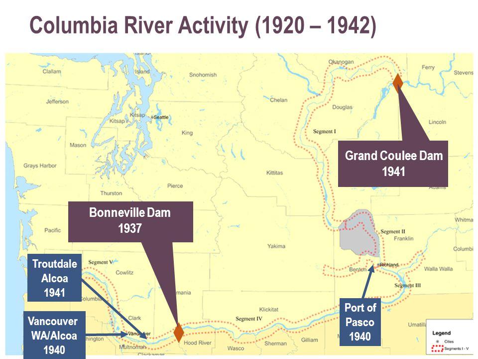 Columbia River Activity (1920 – 1942) Bonneville Dam 1937 Grand Coulee Dam 1941 Vancouver WA/Alcoa 1940 Port of Pasco 1940 Troutdale Alcoa 1941