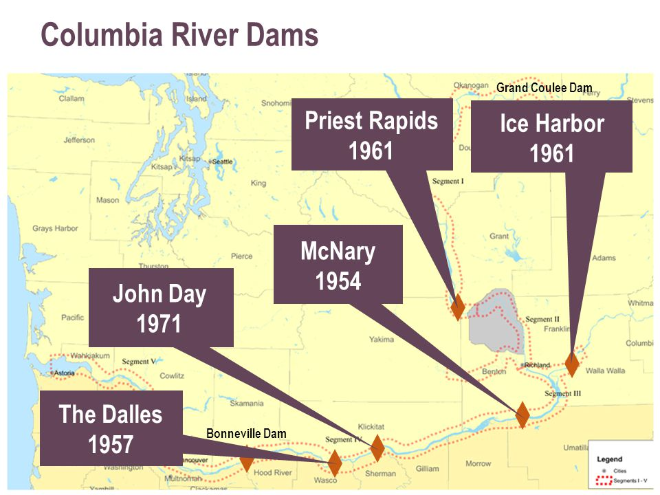 Columbia River Dams Ice Harbor 1961 Priest Rapids 1961 McNary 1954 John Day 1971 The Dalles 1957 Bonneville Dam Grand Coulee Dam