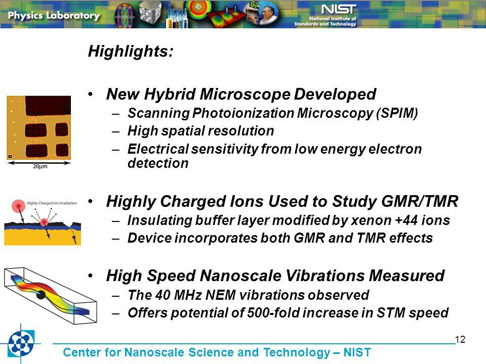 Center for Nanoscale Science and Technology – NIST 12 Highlights: New Hybrid Microscope Developed –Scanning Photoionization Microscopy (SPIM) –High sp