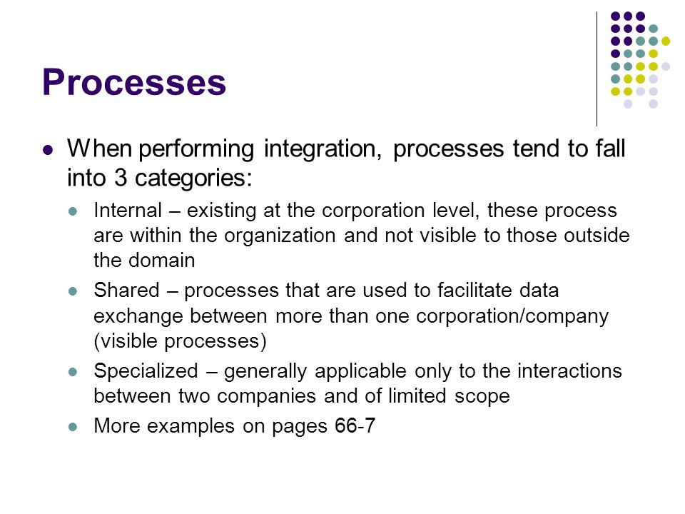 Processes When performing integration, processes tend to fall into 3 categories: Internal – existing at the corporation level, these process are withi