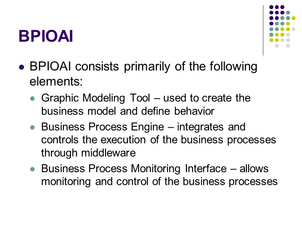 BPIOAI BPIOAI consists primarily of the following elements: Graphic Modeling Tool – used to create the business model and define behavior Business Pro