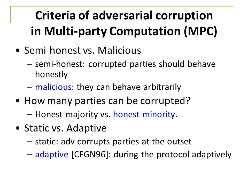 Criteria of adversarial corruption in Multi-party Computation (MPC) Semi-honest vs.