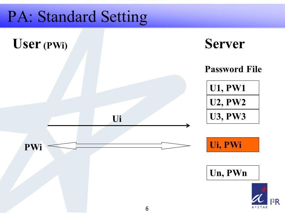 RFID Security Seminar 2008 6 Project Summary - why should it be done? PA: Standard Setting U1, PW1 U2, PW2 U3, PW3 Un, PWn Ui, PWi Password File Ui Us