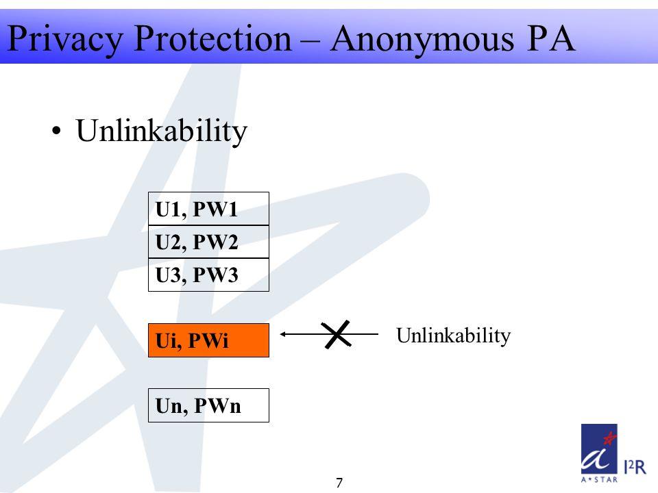 RFID Security Seminar 2008 7 Privacy Protection – Anonymous PA U1, PW1 U2, PW2 U3, PW3 Un, PWn Ui, PWi Unlinkability
