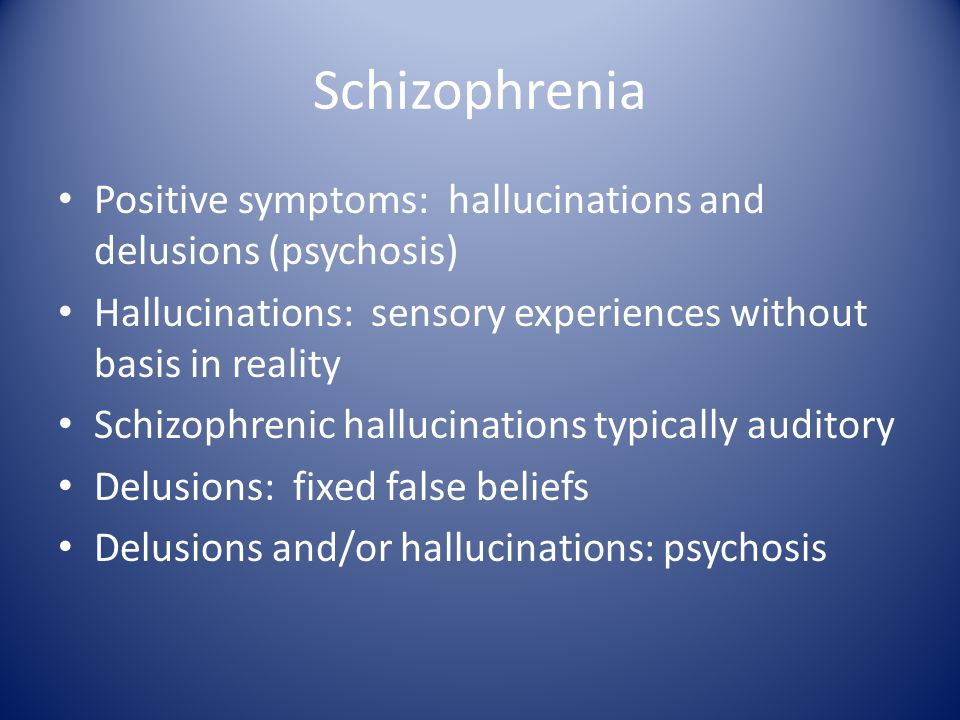 Genetics Search for gene for schizophrenia proved fruitless No longer considered to be a simple genetic disorder Probably a number of genetic influences on a variety of cellular processes Controller genes which switch on/off during development, or with environment may be involved