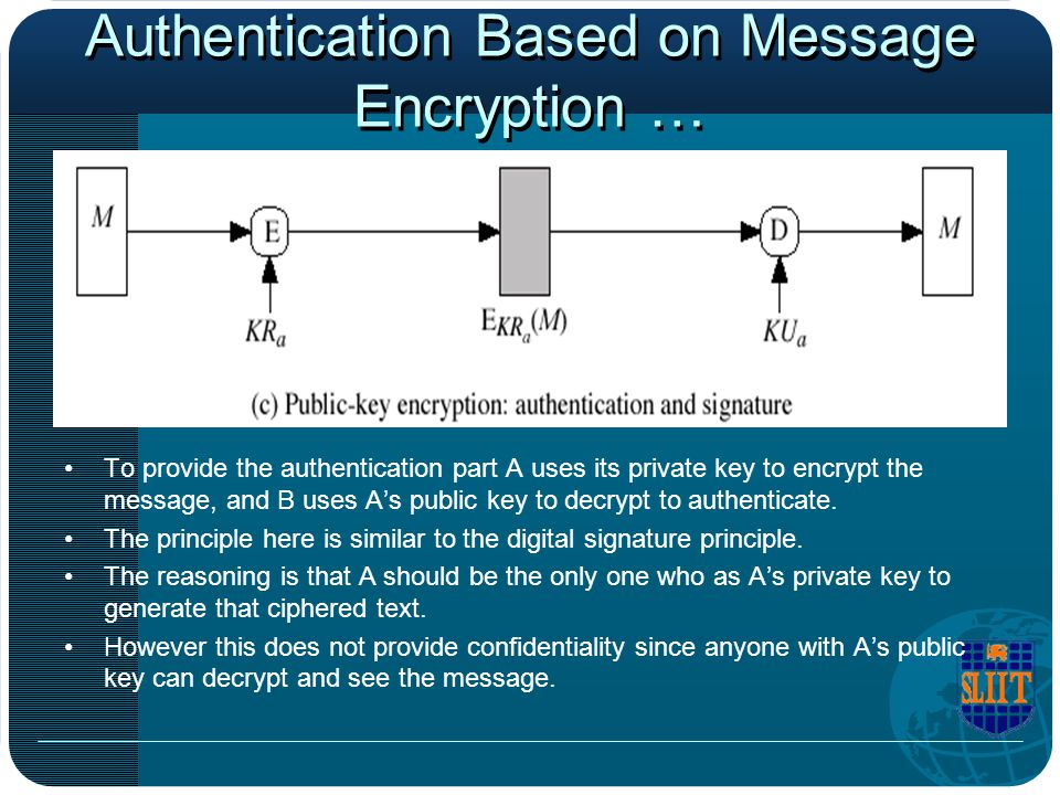 Authentication Based on Message Encryption … To provide the authentication part A uses its private key to encrypt the message, and B uses A's public k