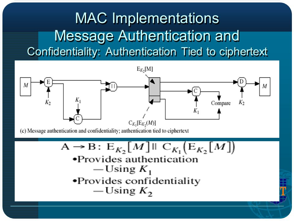 MAC Implementations Message Authentication and Confidentiality: Authentication Tied to ciphertext