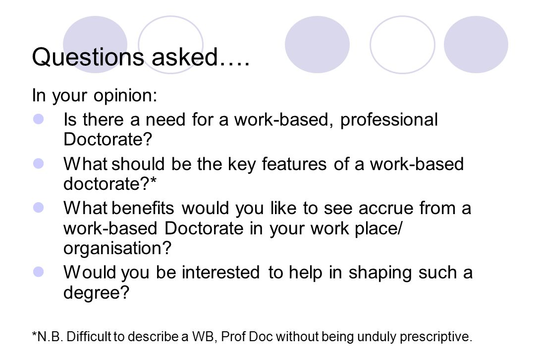 Questions asked…. In your opinion: Is there a need for a work-based, professional Doctorate.