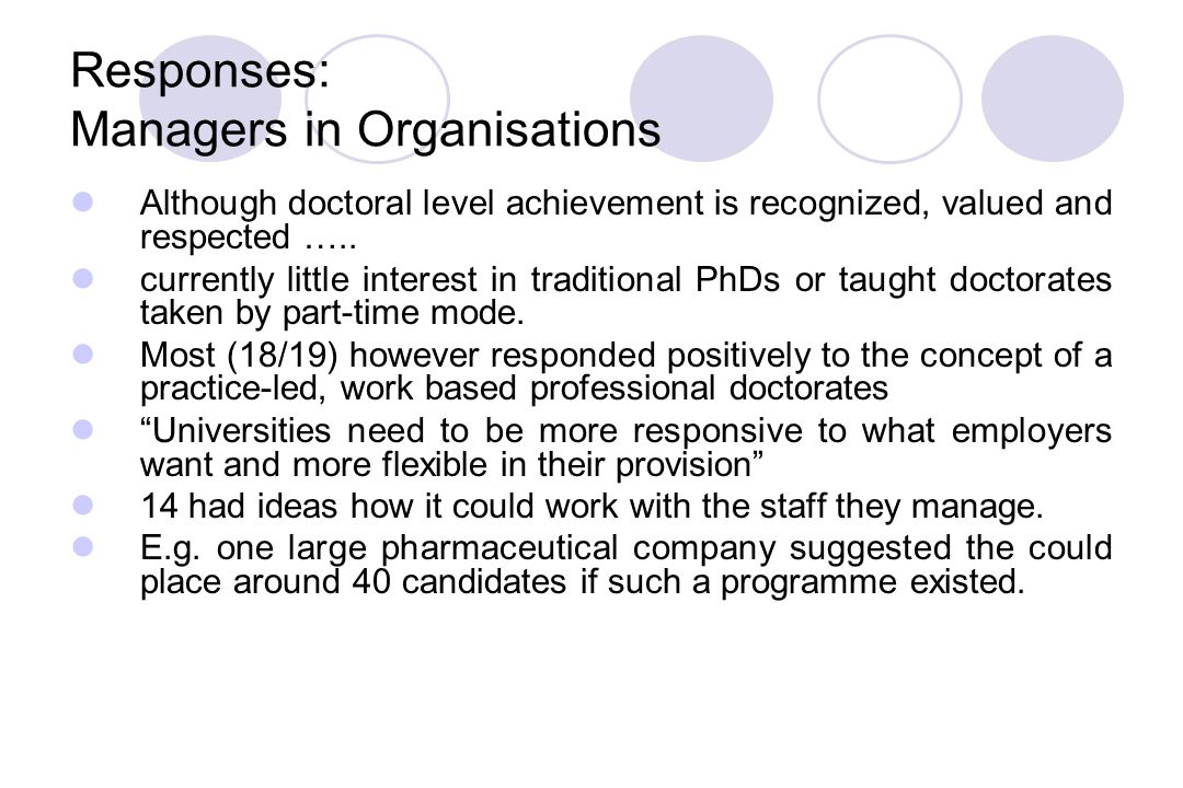 Responses: Managers in Organisations Although doctoral level achievement is recognized, valued and respected …..