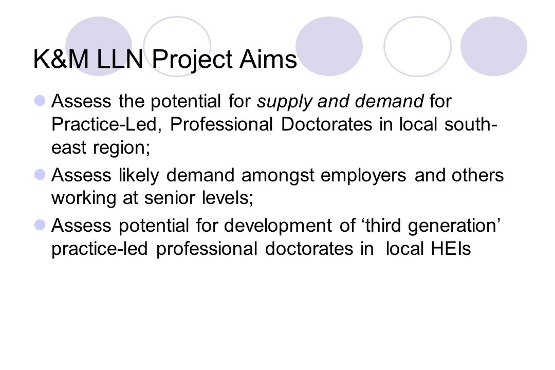 K&M LLN Project Aims Assess the potential for supply and demand for Practice-Led, Professional Doctorates in local south- east region; Assess likely demand amongst employers and others working at senior levels; Assess potential for development of 'third generation' practice-led professional doctorates in local HEIs