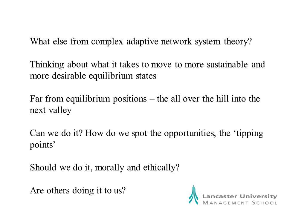 What else from complex adaptive network system theory.