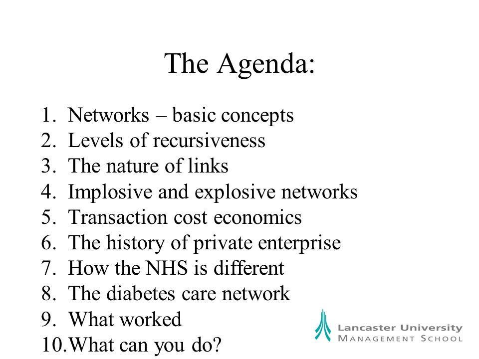 The Agenda: 1.Networks – basic concepts 2.Levels of recursiveness 3.The nature of links 4.Implosive and explosive networks 5.Transaction cost economics 6.The history of private enterprise 7.How the NHS is different 8.The diabetes care network 9.What worked 10.What can you do