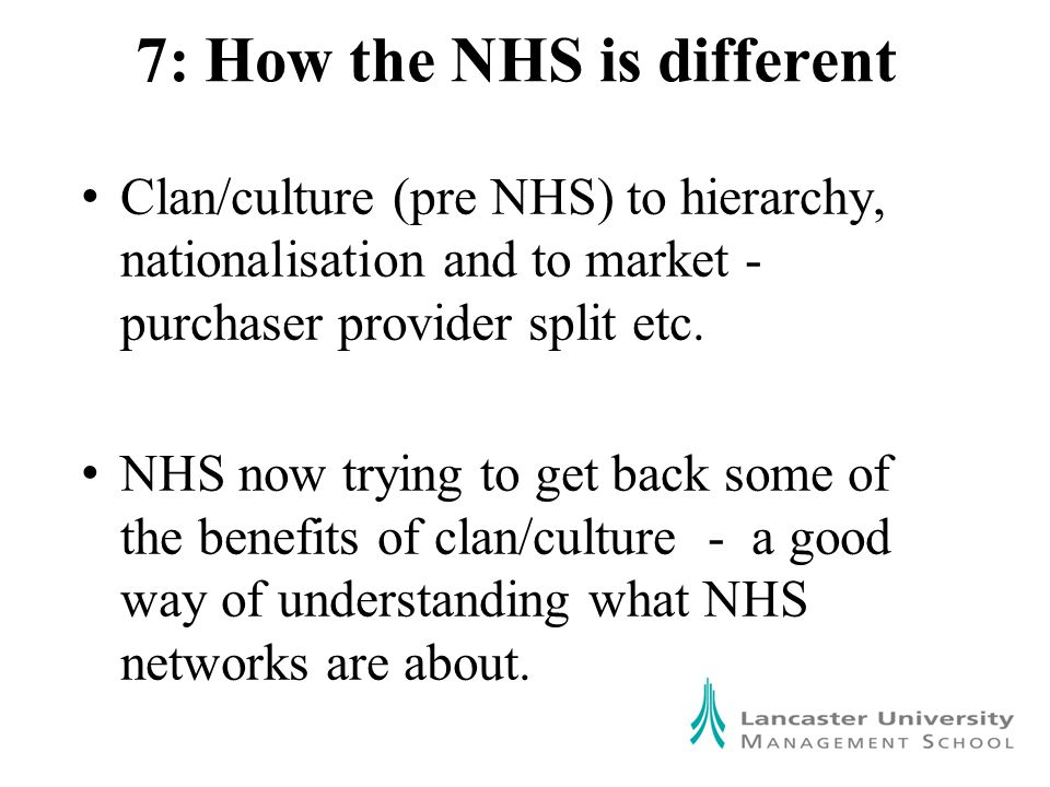 7: How the NHS is different Clan/culture (pre NHS) to hierarchy, nationalisation and to market - purchaser provider split etc.