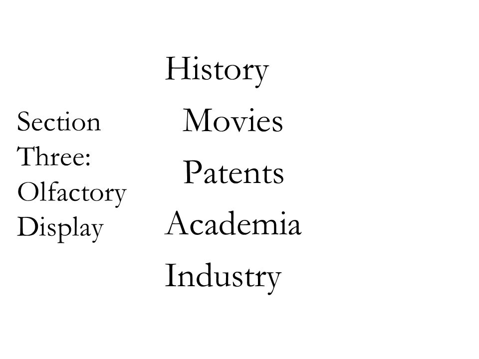 Section Three: Olfactory Display History Movies Patents Academia Industry