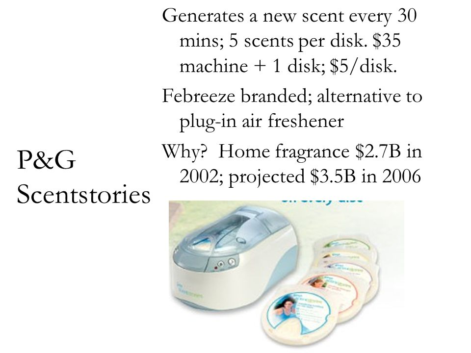 P&G Scentstories Generates a new scent every 30 mins; 5 scents per disk. $35 machine + 1 disk; $5/disk. Febreeze branded; alternative to plug-in air f