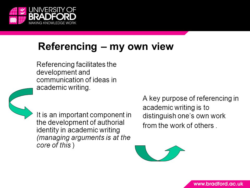 Referencing – my own view Referencing facilitates the development and communication of ideas in academic writing. It is an important component in the