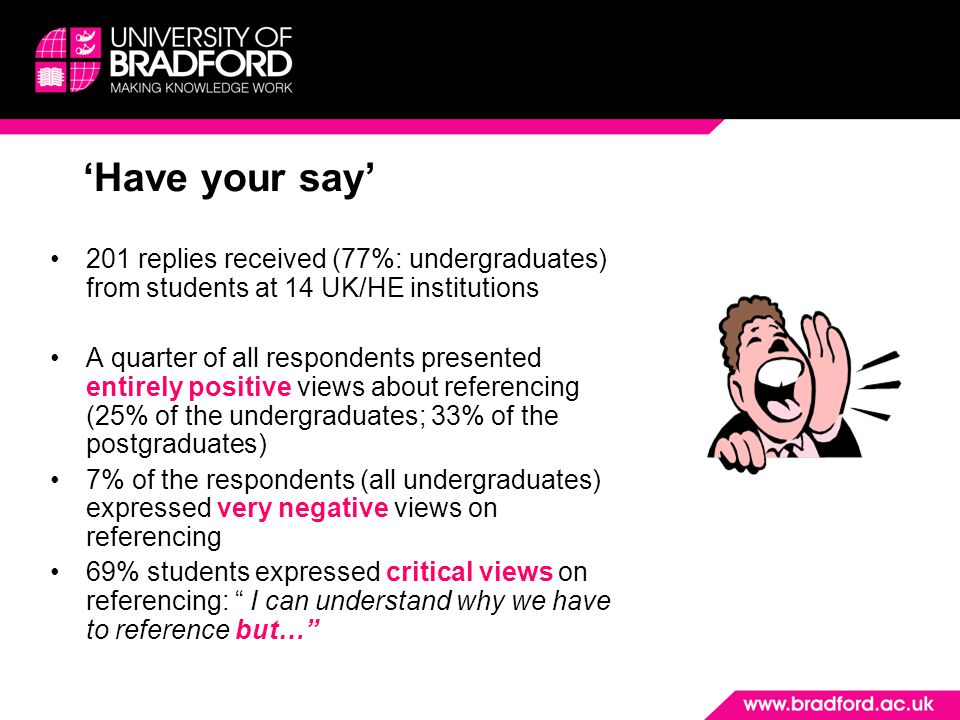 'Have your say' 201 replies received (77%: undergraduates) from students at 14 UK/HE institutions A quarter of all respondents presented entirely positive views about referencing (25% of the undergraduates; 33% of the postgraduates) 7% of the respondents (all undergraduates) expressed very negative views on referencing 69% students expressed critical views on referencing: I can understand why we have to reference but…