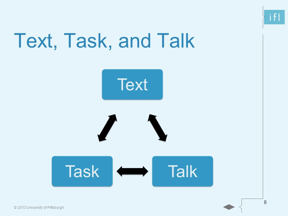 © 2013 University of Pittsburgh 8 Text, Task, and Talk
