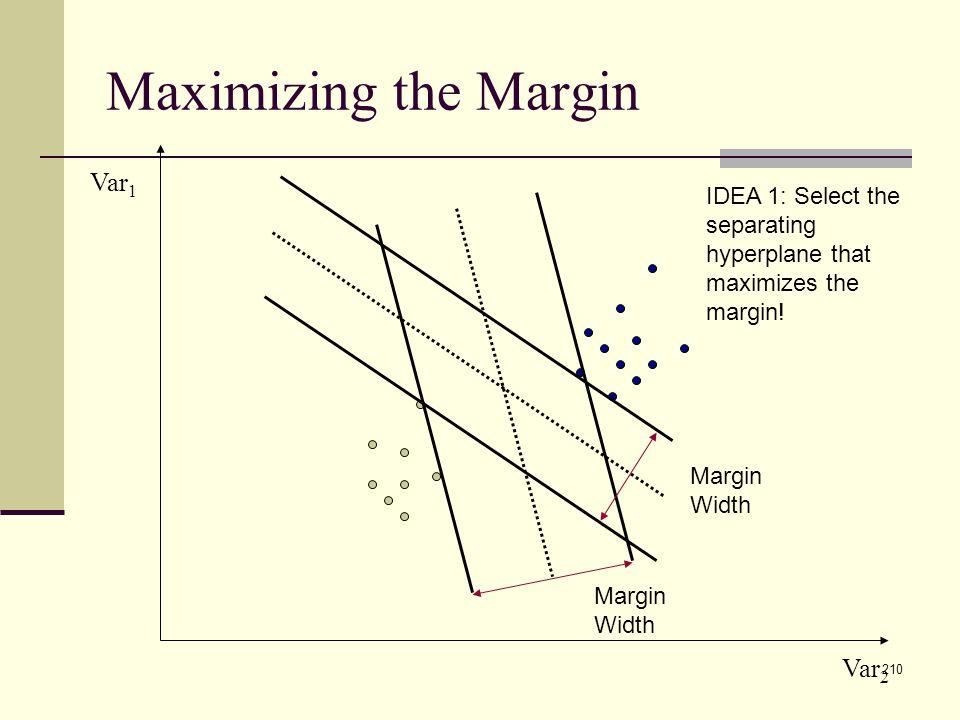 210 Maximizing the Margin Var 1 Var 2 Margin Width IDEA 1: Select the separating hyperplane that maximizes the margin!
