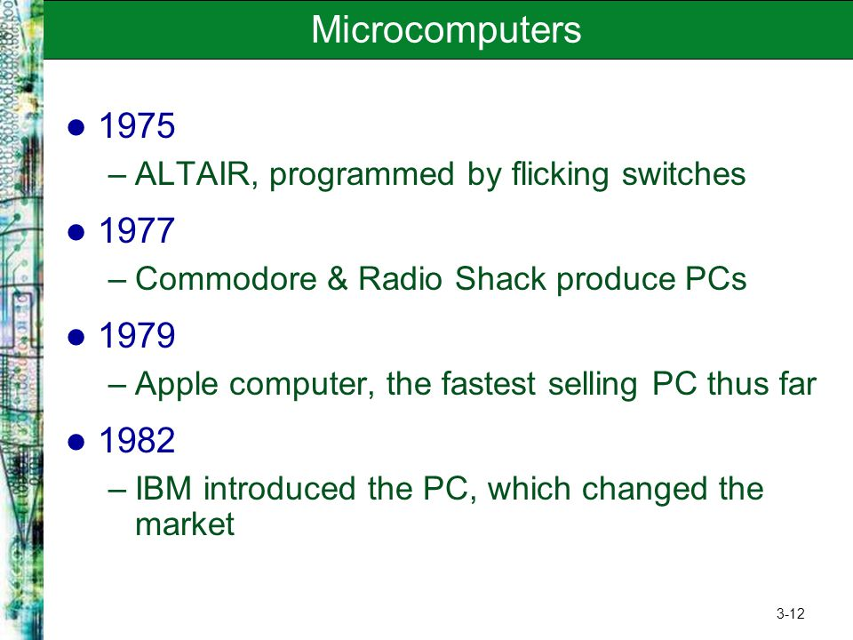 3-12 Microcomputers 1975 –ALTAIR, programmed by flicking switches 1977 –Commodore & Radio Shack produce PCs 1979 –Apple computer, the fastest selling