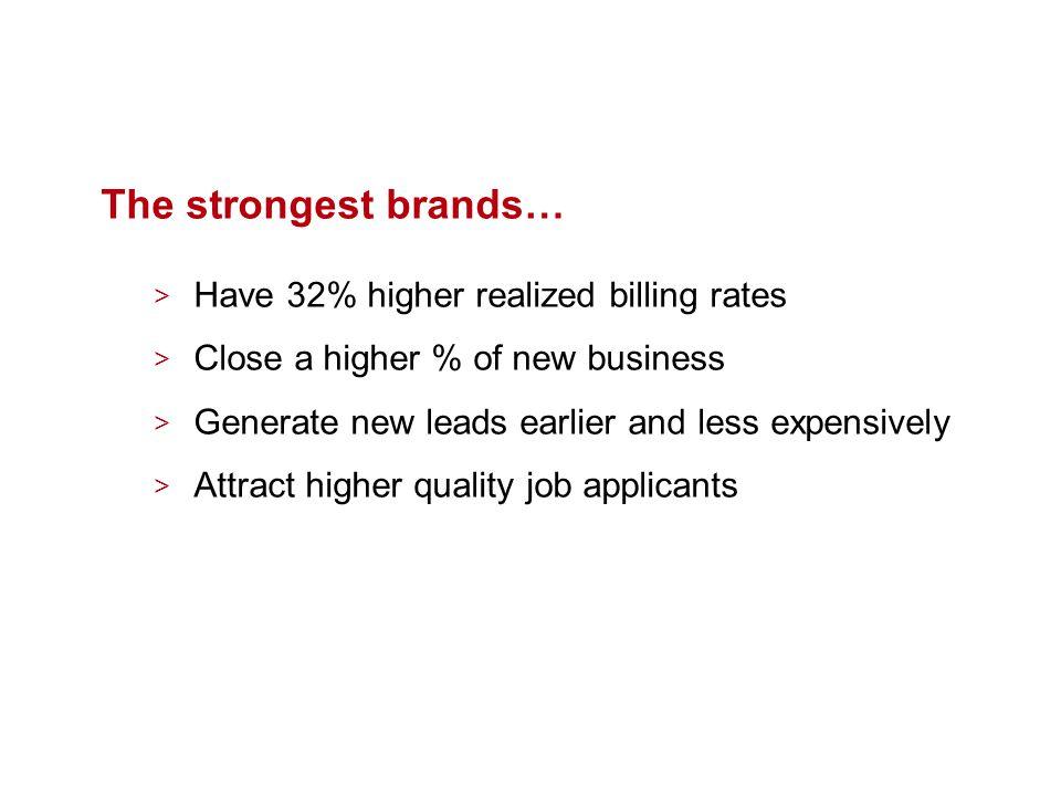 The strongest brands… > Have 32% higher realized billing rates > Close a higher % of new business > Generate new leads earlier and less expensively > Attract higher quality job applicants
