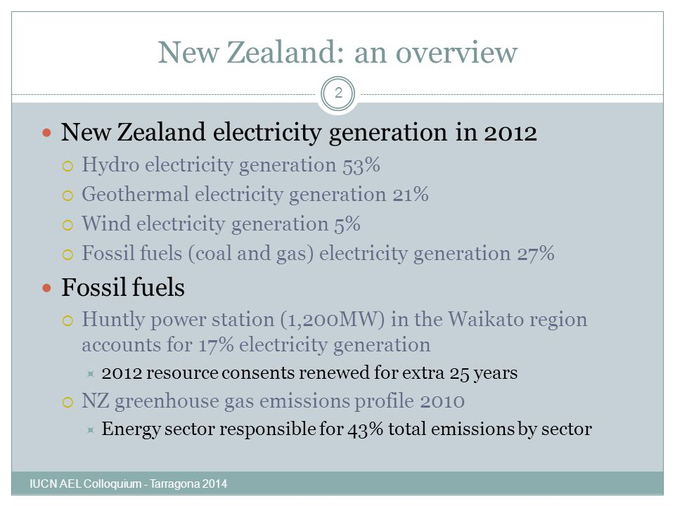 New Zealand: an overview New Zealand electricity generation in 2012  Hydro electricity generation 53%  Geothermal electricity generation 21%  Wind electricity generation 5%  Fossil fuels (coal and gas) electricity generation 27% Fossil fuels  Huntly power station (1,200MW) in the Waikato region accounts for 17% electricity generation  2012 resource consents renewed for extra 25 years  NZ greenhouse gas emissions profile 2010  Energy sector responsible for 43% total emissions by sector IUCN AEL Colloquium - Tarragona 2014 2
