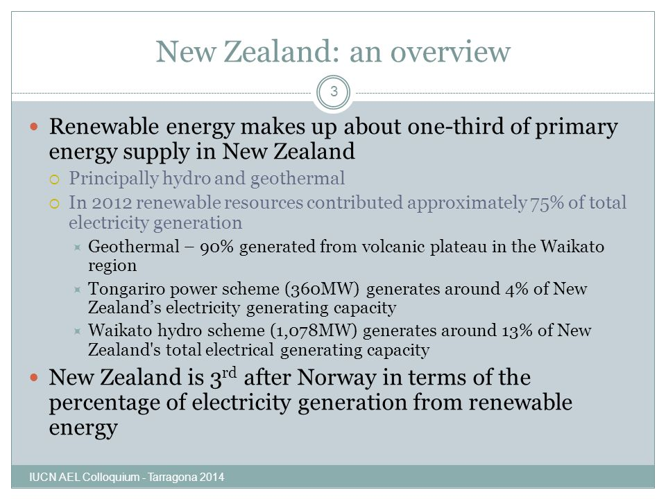 New Zealand: an overview Renewable energy makes up about one-third of primary energy supply in New Zealand  Principally hydro and geothermal  In 201