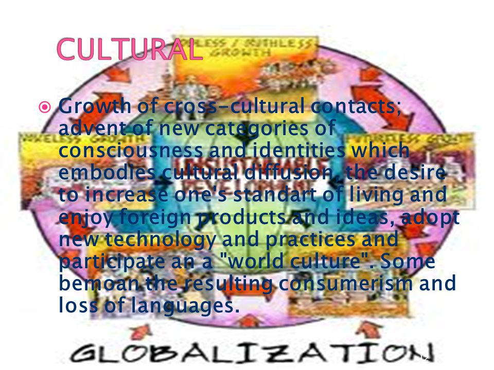  Growth of cross-cultural contacts; advent of new categories of consciousness and identities which embodies cultural diffusion, the desire to increas