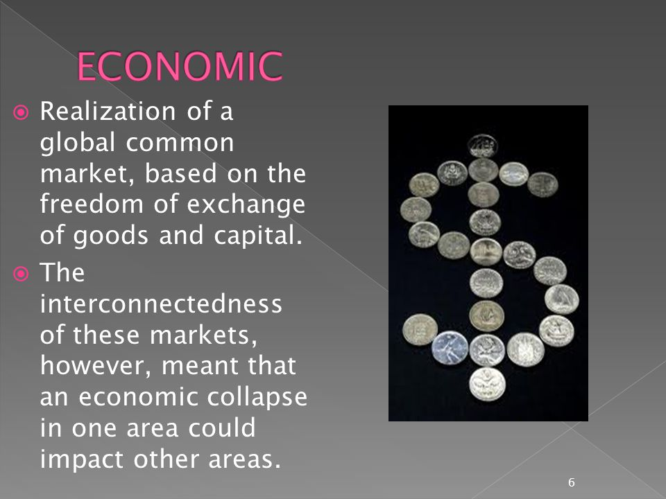  Some use globalization to mean the creation of a world government which regulates the relationships among governments and guarantees the rights arising from social and economic globalization.