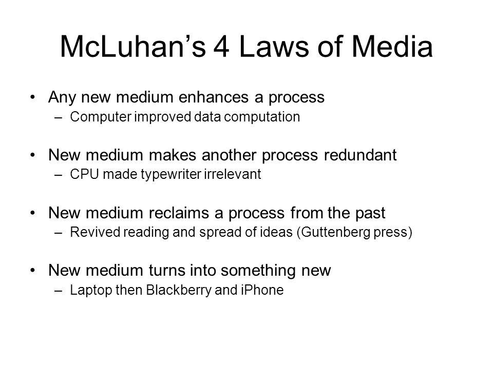 McLuhan's 4 Laws of Media Any new medium enhances a process –Computer improved data computation New medium makes another process redundant –CPU made t