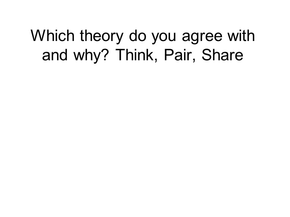 Which theory do you agree with and why? Think, Pair, Share