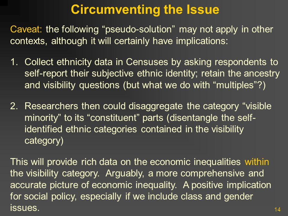 14 Circumventing the Issue Caveat: the following pseudo-solution may not apply in other contexts, although it will certainly have implications: 1.Collect ethnicity data in Censuses by asking respondents to self-report their subjective ethnic identity; retain the ancestry and visibility questions (but what we do with multiples ) 2.Researchers then could disaggregate the category visible minority to its constituent parts (disentangle the self- identified ethnic categories contained in the visibility category) This will provide rich data on the economic inequalities within the visibility category.