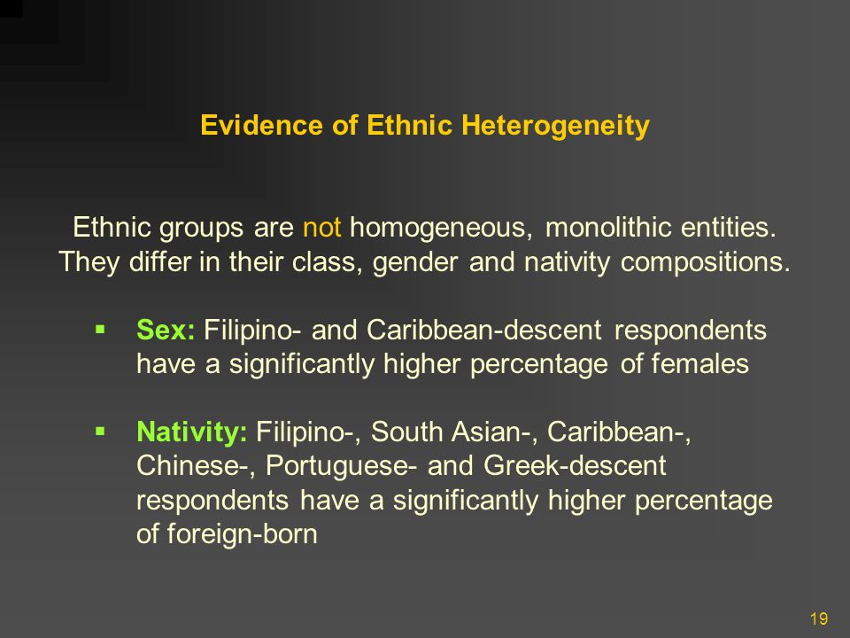 19 Evidence of Ethnic Heterogeneity Ethnic groups are not homogeneous, monolithic entities. They differ in their class, gender and nativity compositio