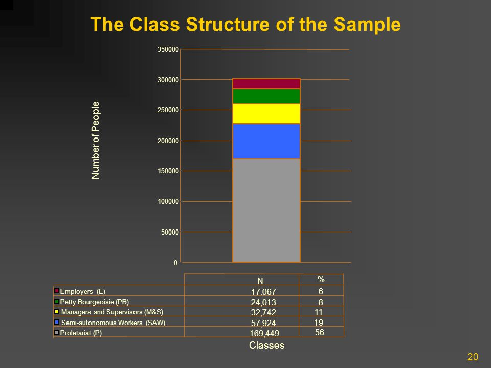 20 The Class Structure of the Sample 0 50000 100000 150000 200000 250000 300000 350000 Number of People Classes Employers (E) 17,067 Petty Bourgeoisie