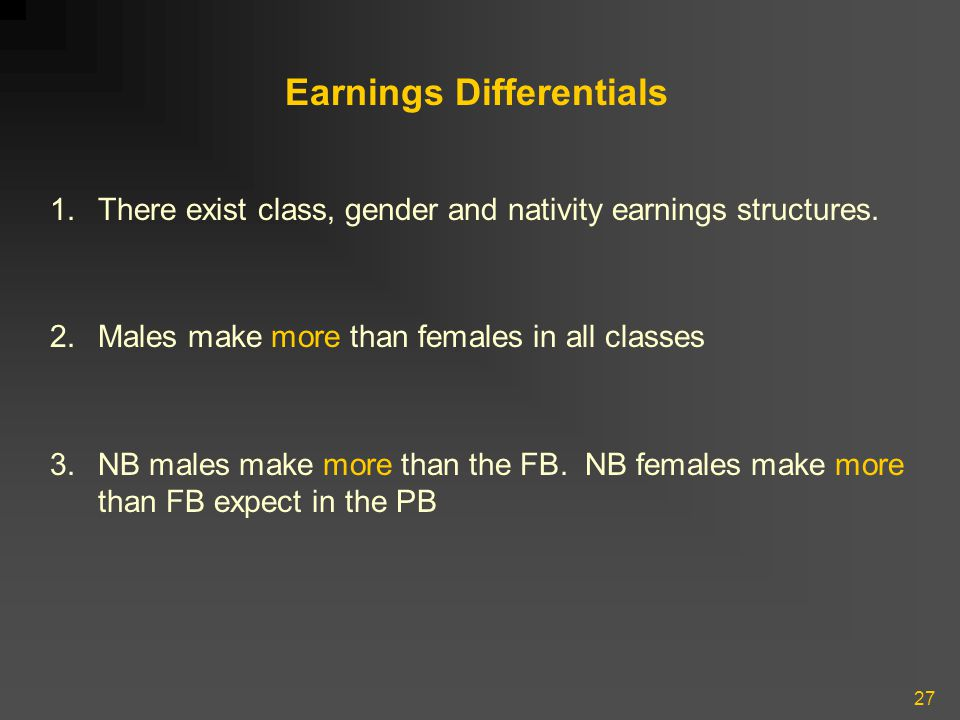 27 Earnings Differentials 1.There exist class, gender and nativity earnings structures. 2.Males make more than females in all classes 3.NB males make