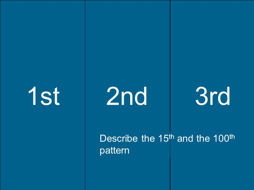 1st2nd3rd 1st2nd3rd Describe the 15 th and the 100 th pattern