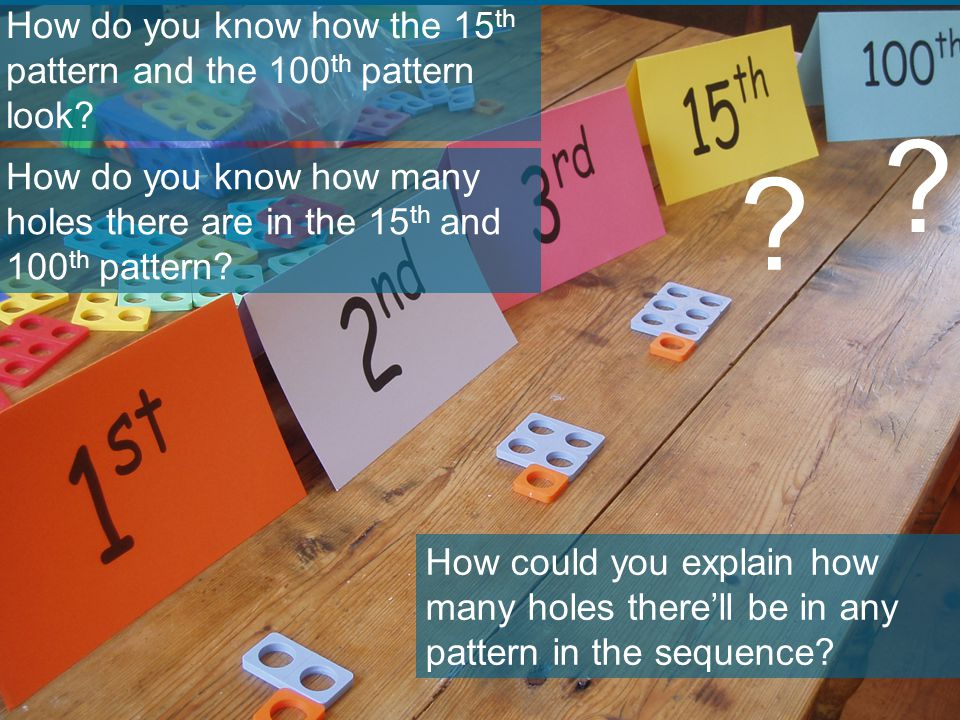 ? ? How do you know how the 15 th pattern and the 100 th pattern look? How do you know how many holes there are in the 15 th and 100 th pattern? How c