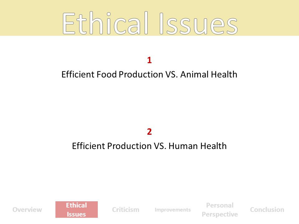 1 Efficient Food Production VS. Animal Health 2 Efficient Production VS.